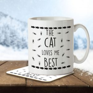 The Cat Loves Me Best – Mug and Coaster