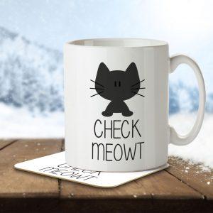 Check Meowt – Mug and Coaster