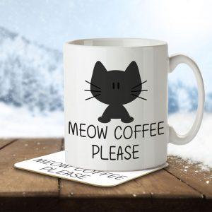 Meow Coffee Please – Mug and Coaster