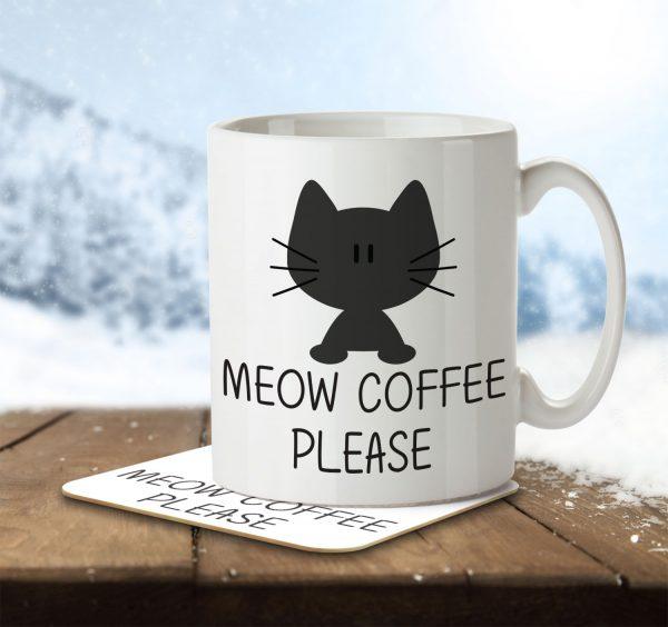 Meow Coffee Please - Mug and Coaster - MNC ANI 008 ENV