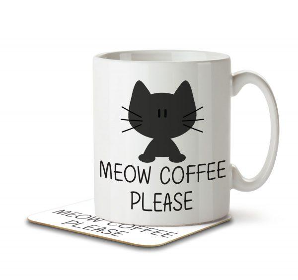 Meow Coffee Please - Mug and Coaster - MNC ANI 008 WHITE
