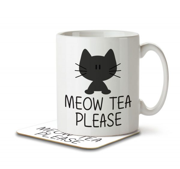 Meow Tea Please - Mug and Coaster - MNC ANI 009 WHITE