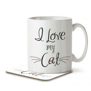 I Love My Cat – Mug and Coaster