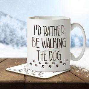 I'd Rather Be Walking the Dog – Mug and Coaster