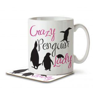 Crazy Penguin Lady – Mug and Coaster