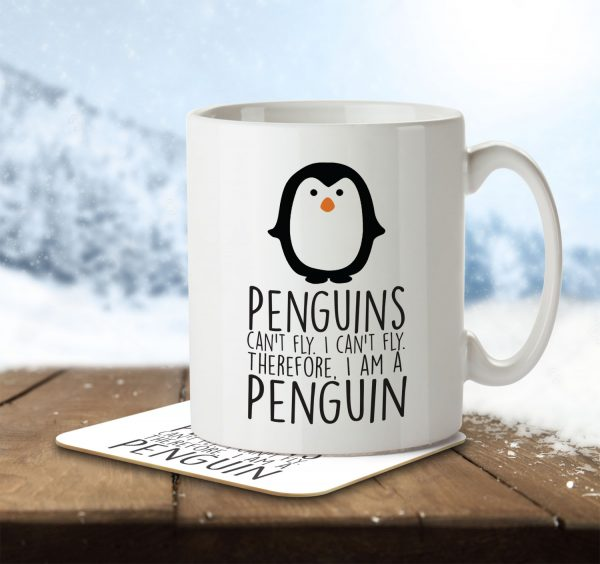 Penguins Can't Fly. I Can't Fly. Therefore I am a Penguin - Mug and Coaster - MNC ANI 022 ENV