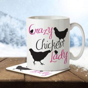 Crazy Chicken Lady – Mug and Coaster