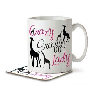 Crazy Giraffe Lady – Mug and Coaster