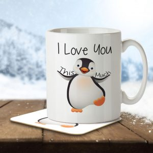 I Love You This Much – Cute Penguin – Mug and Coaster