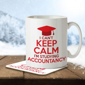 I Can't Keep Calm I'm Studying Accountancy – Mug and Coaster