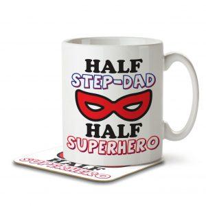 Half Step-Dad Half Superhero – Mug and Coaster