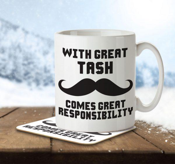 With Great Tash Comes Great Responsibility - Mug and Coaster - MNC FUN 007 ENV