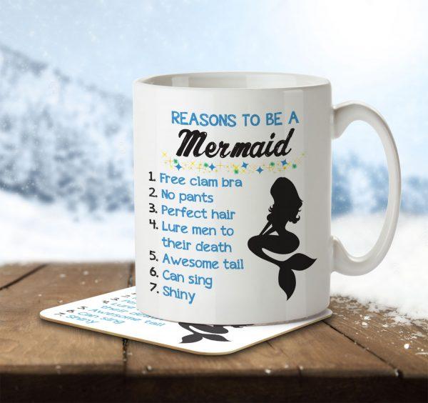 Reasons To Be a Mermaid - Mug and Coaster - MNC FUN 008 ENV