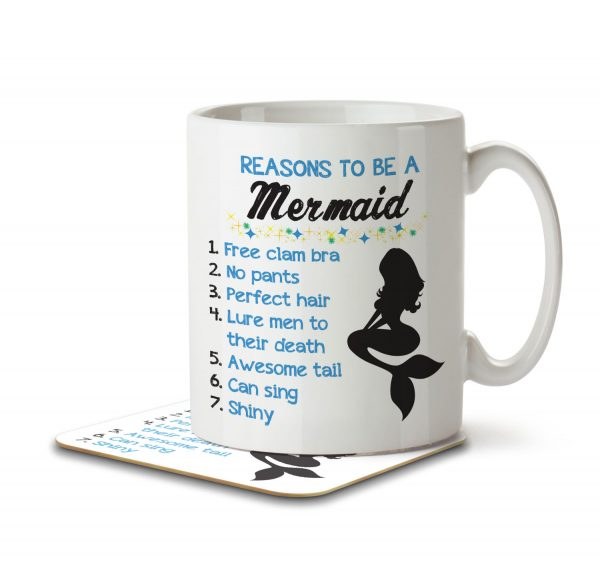 Reasons To Be a Mermaid - Mug and Coaster - MNC FUN 008 WHITE