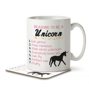 Reasons To Be a Unicorn – Mug and Coaster