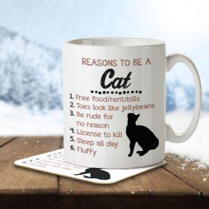 Reasons to be a Cat – Mug and Coaster