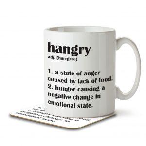 Hangry Funny Definition – Mug and Coaster