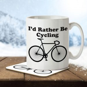 I'd Rather By Cycling – Mug and Coaster