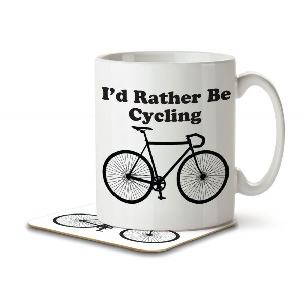 I'd Rather By Cycling - Mug and Coaster - MNC HOB 001 WHITE