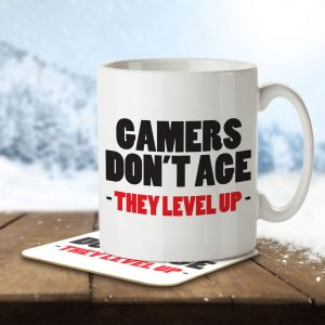 Gamers Don't Age, They Level Up – Mug and Coaster