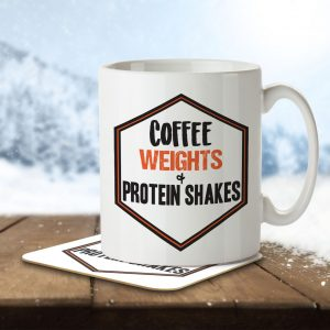 Coffee, Weights + Protein Shakes – Mug and Coaster