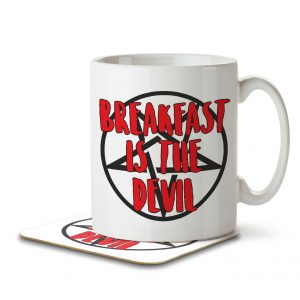Breakfast Is The Devil – Intermittent Fasting – Mug and Coaster