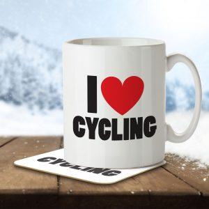 I Love Cycling – Mug and Coaster