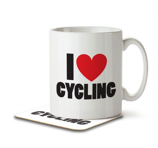 I Love Cycling - Mug and Coaster - MNC ILV 022 WHITE
