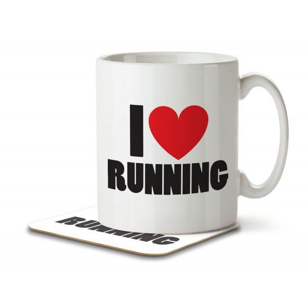 I Love Running - Mug and Coaster - MNC ILV 023 WHITE