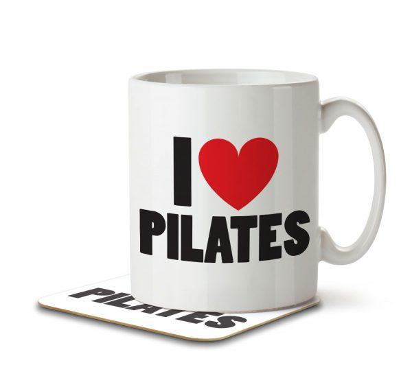 I Love Pilates - Mug and Coaster - MNC ILV 027 WHITE