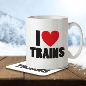 I Love Trains – Mug and Coaster