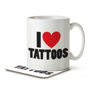 I Love Tattoos – Mug and Coaster