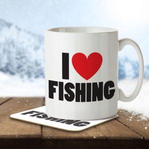 I Love Fishing – Mug and Coaster