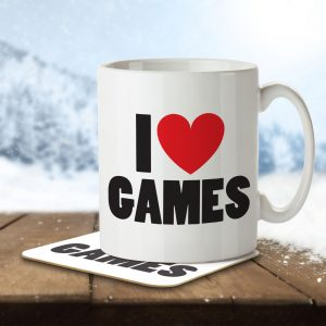 I Love Games – Mug and Coaster