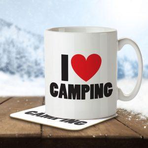 I Love Camping – Mug and Coaster