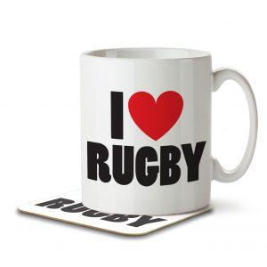 I Love Rugby – Mug and Coaster