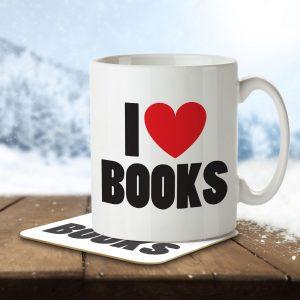 I Love Books – Mug and Coaster