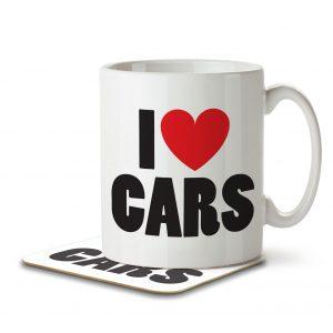 I Love Cars – Mug and Coaster