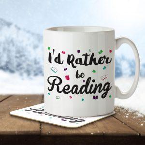 I'd Rather Be Reading – Mug and Coaster