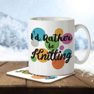 I'd Rather Be Knitting – Mug and Coaster
