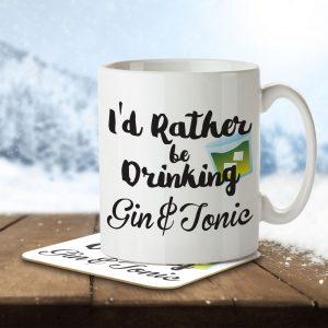 I'd Rather Be Drinking Gin & Tonic – Mug and Coaster