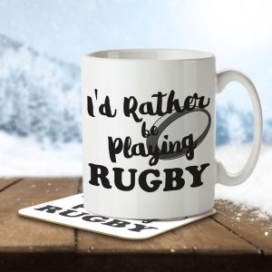 I'd Rather Be Playing Rugby – Mug and Coaster