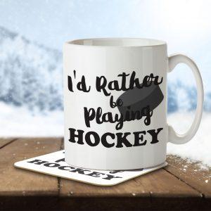I'd Rather Be Playing Hockey – Mug and Coaster