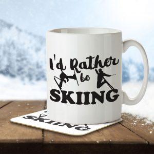 I'd Rather Be Skiing – Mug and Coaster
