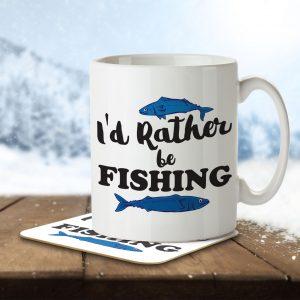 I'd Rather Be Fishing – Mug and Coaster