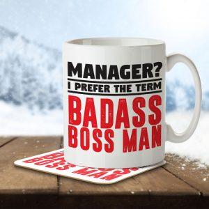 Manager? I Prefer the Term Badass Boss Man – Mug and Coaster