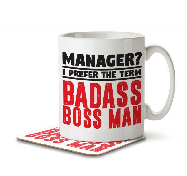 Manager? I Prefer the Term Badass Boss Man - Mug and Coaster - MNC JOB 080 WHITE