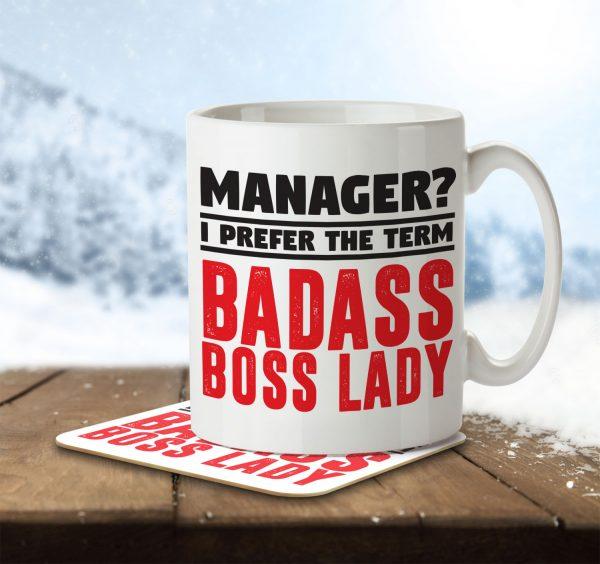 Manager? I Prefer the Term Badass Boss Lady - Mug and Coaster - MNC JOB 081 ENV