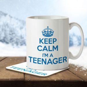 Keep Calm I'm a Teenager (Blue) – Mug and Coaster