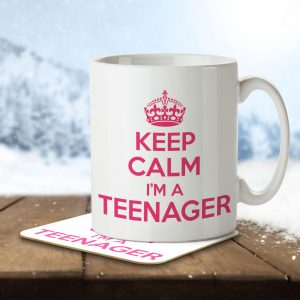 Keep Calm I'm a Teenager (Pink) – Mug and Coaster